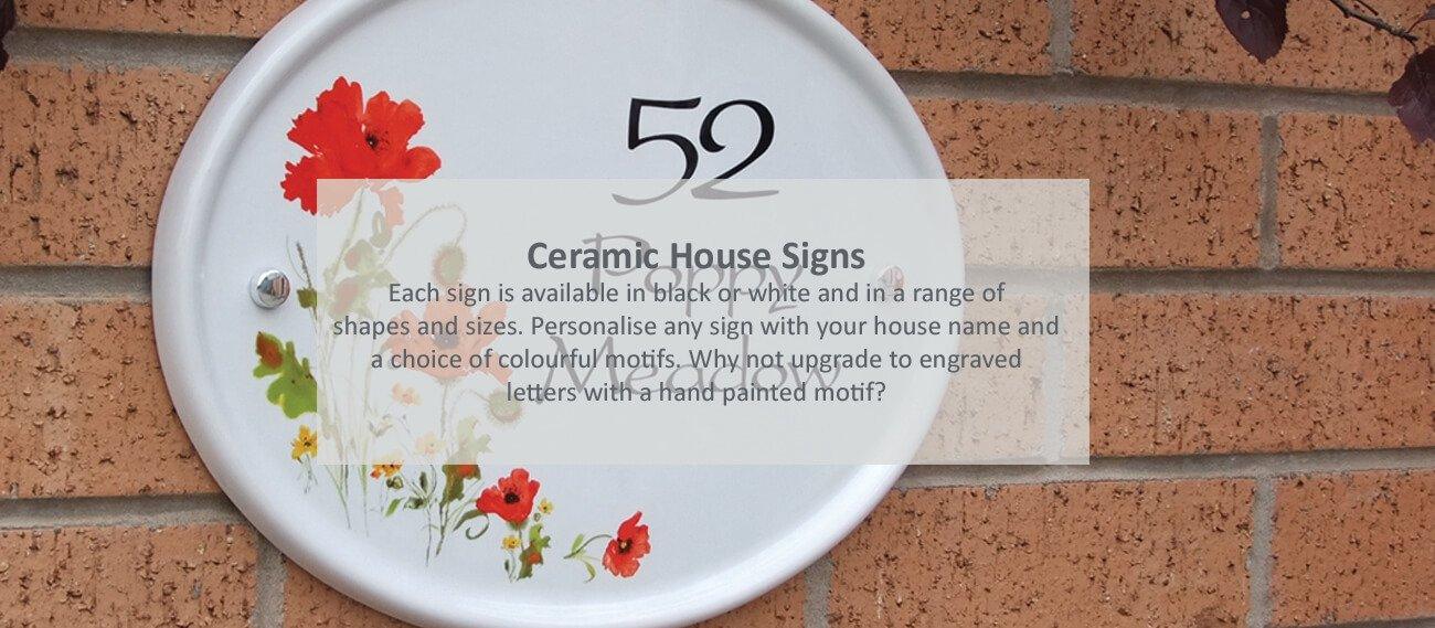 Ceramic house signs - click to shop