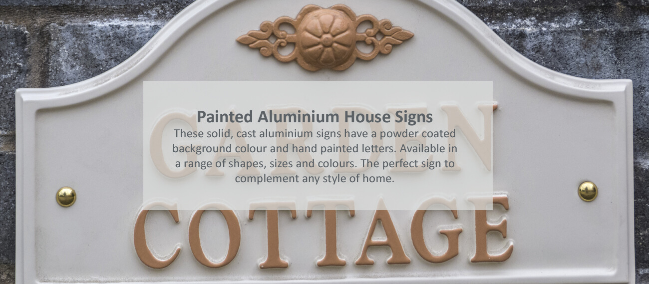Painted aluminium house signs - click to shop