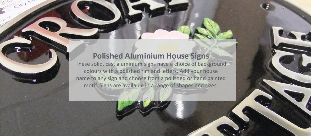 Aluminium house signs - click to shop