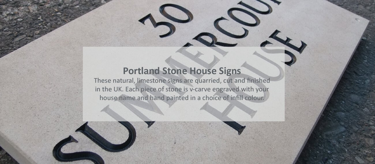 Portland stone house signs - click to shop