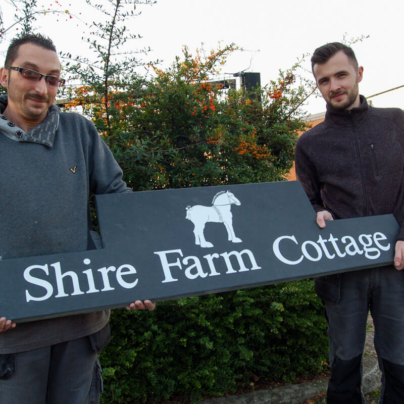 Bespoke slate signs - Shire Horse Centre
