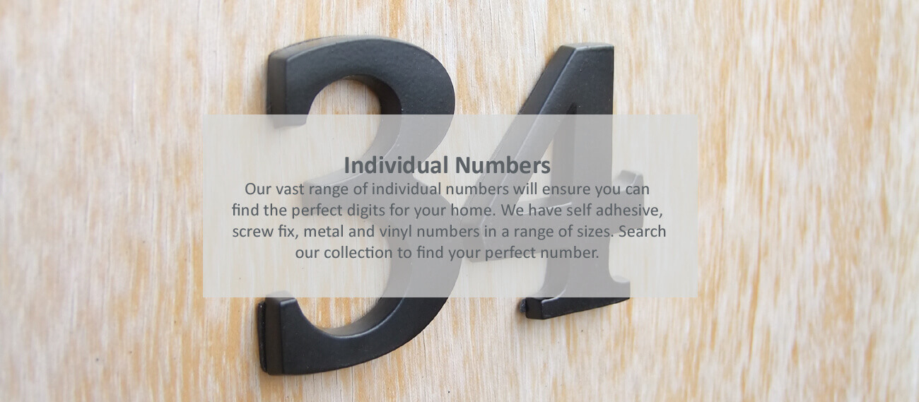Individual aluminium house numbers- click to shop