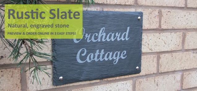Two line rustic slate house sign
