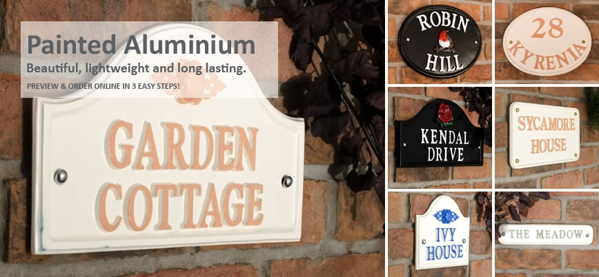 Painted Aluminium House Signs