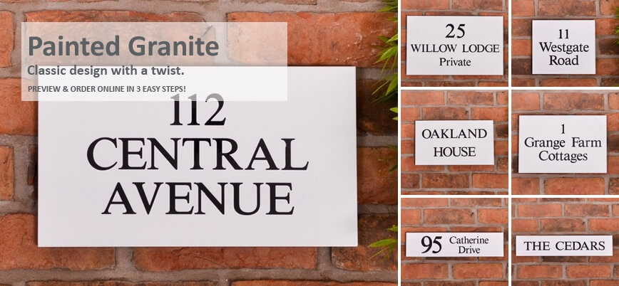 Black Granite Signs with Painted Background