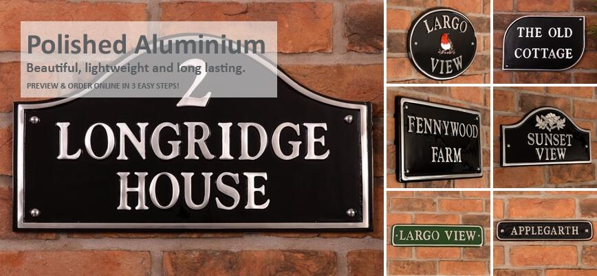 Polished Aluminium House Signs