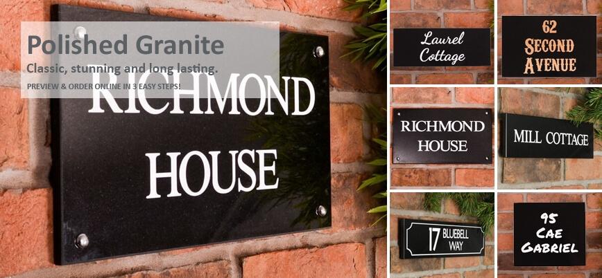 Polished Black Granite Signs