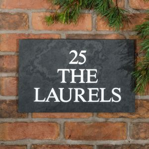 Slate House Sign 3 line 40.5 x 25.5cm - smooth slate - front view