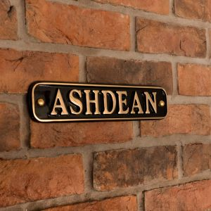 Brass Rectangle House Sign 30.5 x 6.5cm