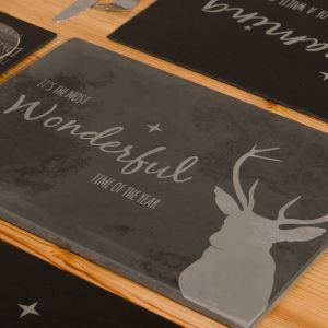 Natural Slate cheeseboard with Christmas message