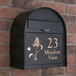 Personalised Edinburgh Black Letterbox personalised with your address