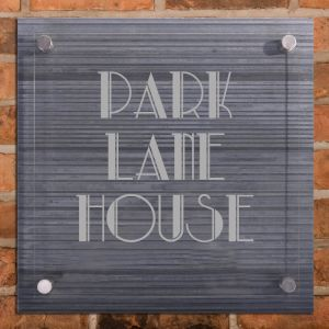 Ridged Slate House Sign with Acrylic front panel - 500 x 500mm - 3 lines of text