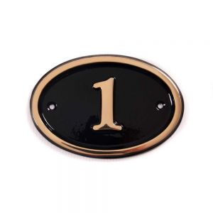 Oval Brass House Number 14 x 10cm