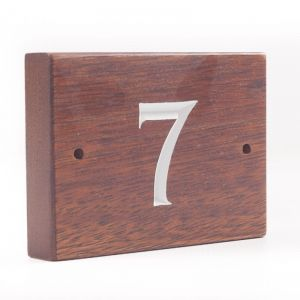 1 Digit Solid Iroko Wood House Number