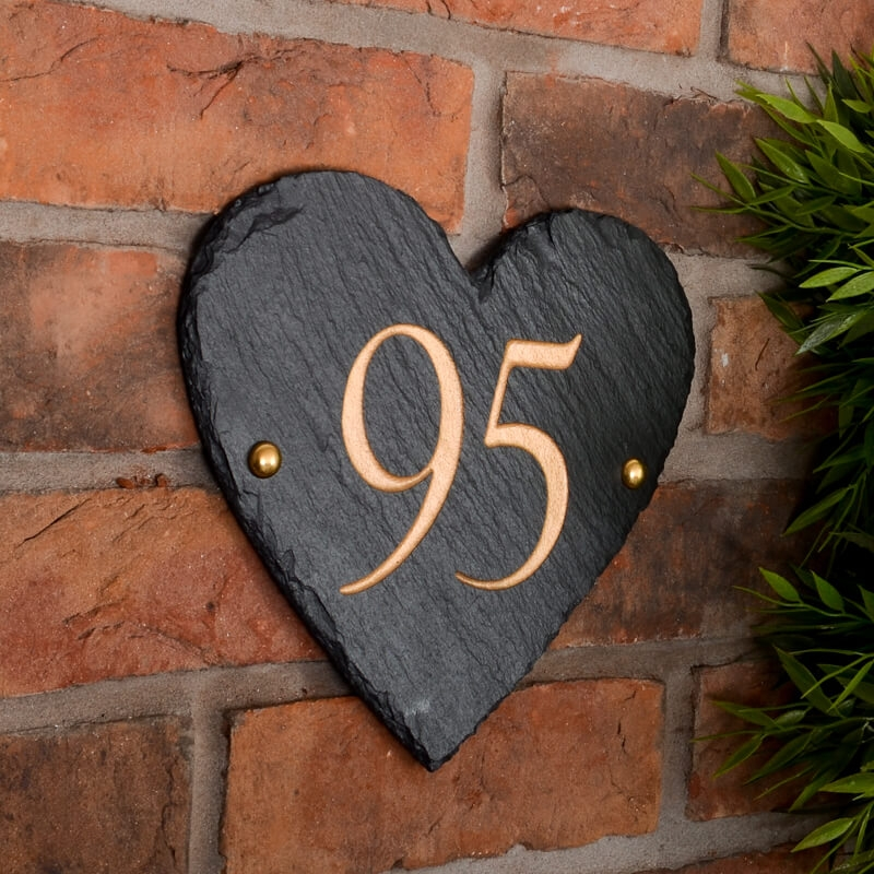 927cc40866f Heart Shaped Rustic Slate House Number personalised with your ...