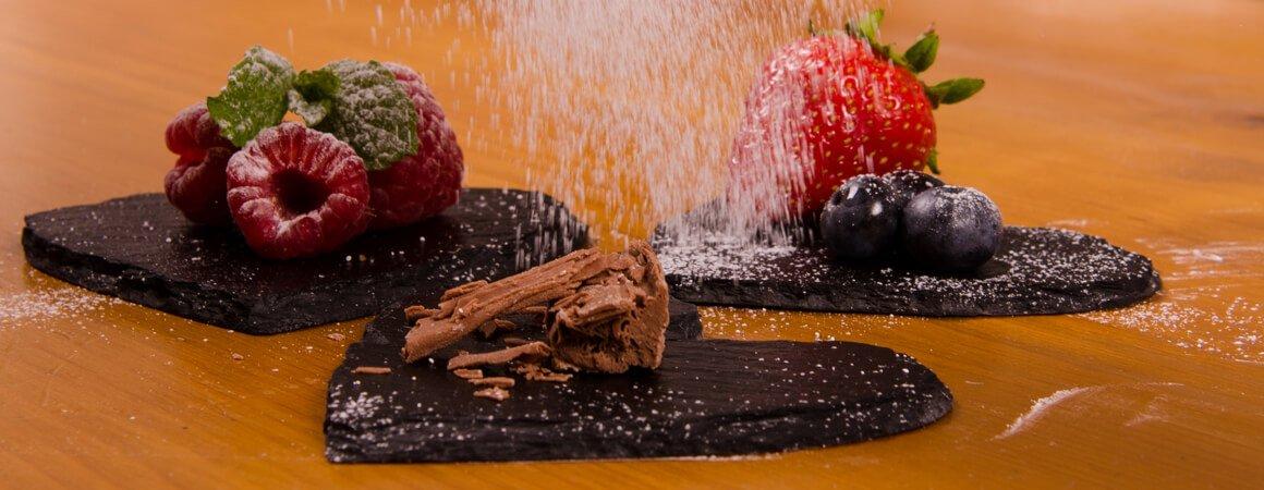 Food looks stunning on slate - puddings