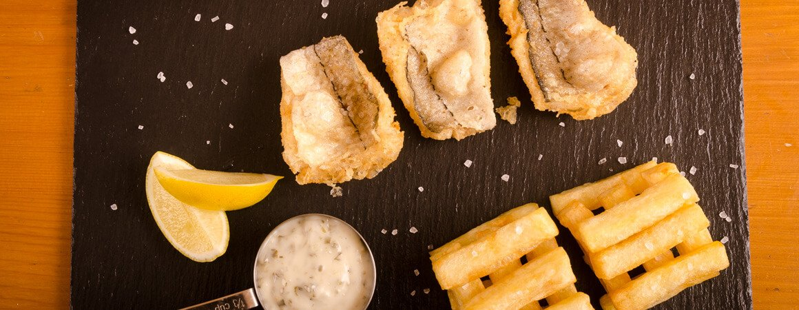 Personalised slate tableware - fish and chips