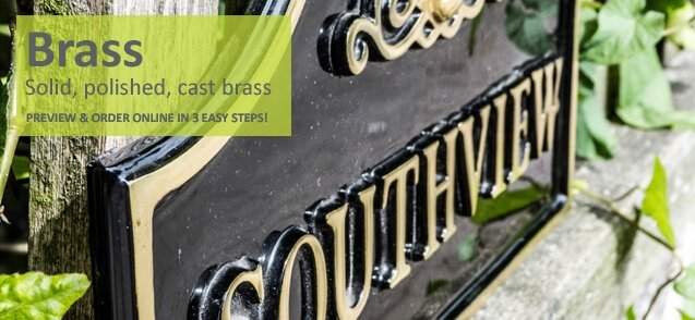 Brass house signs - click to shop
