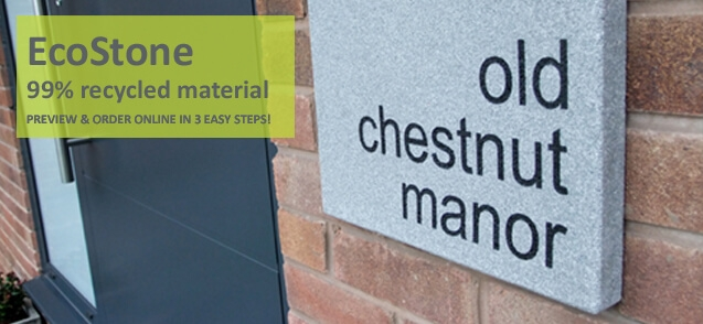 Ecostone house signs - click to shop
