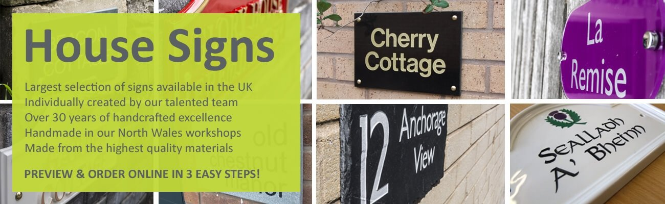 House Signs and nameplates lovingly handcrafted in North Wales - click to shop