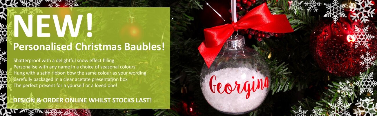 Personalised Christmas Baubles- click to shop
