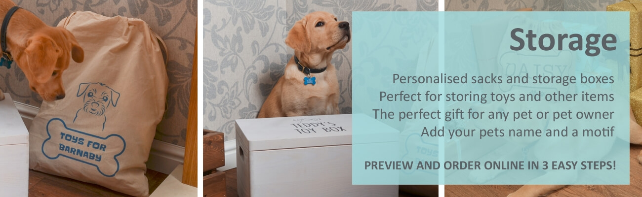 Personalised Pet storage boxes and sacks by Pets Made Personal