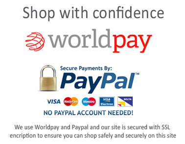 Shop with confidence with Worldpay or Paypal