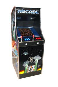 A full sized retro arcade machine