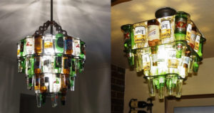 Beer bottle chandelier for your man cave