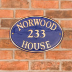 House signs to improve your Kerb appeal - Blue Oval Brass House Sign