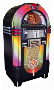 An awesome juke box completes your man cave