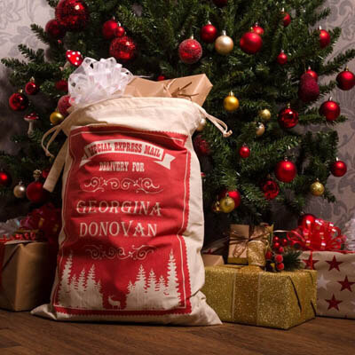 Christmas Trees REAL or FAKE - Christmas Trees REAL or FAKE - Red Stamp Christmas Sack